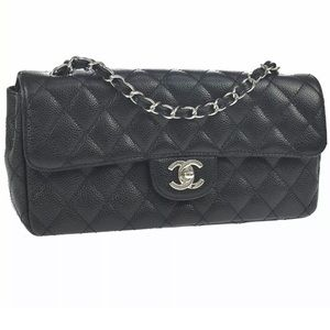 Auth CHANEL Timeless Caviar East West Shoulder Bag